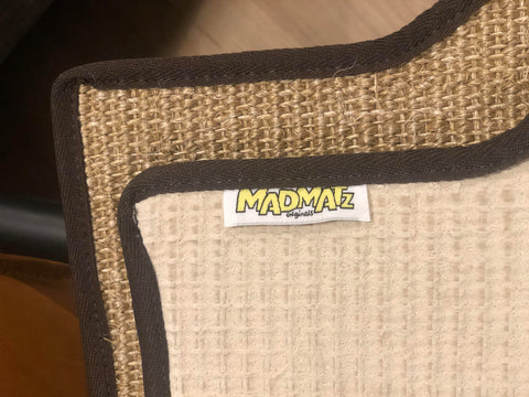 Natural Sisal Split Bus Center 60/40 Bench Seat Mat Fine Weave Fudge With Brown Egde Trim