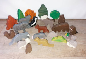 woodland animals set, set of 4 woodland animals of choice, wooden animals, pretend play, open ended toy, waldorf  animals, gift for kids