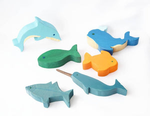 Fish toy set,  wooden fish toy, waldorf toy, waldorf wooden toy set, gift for kids, birthday present, wood toy, pretend play