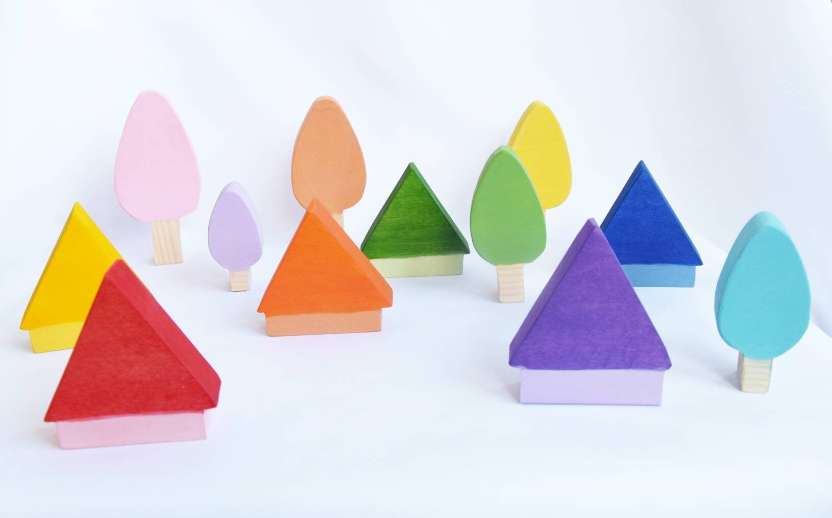 pastel trees and houses, wood toy, wooden trees toy, loose parts, waldorf toy, rainbow toy set, rainbow decoration, mushrooms, gift for kid