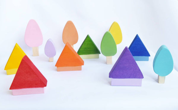 Pastel trees and house wooden waldorf loose parts toy