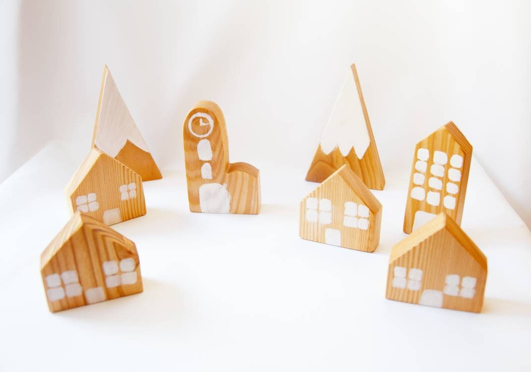 Wooden village, wooden houses, wooden mountains, wooden toy, wooden waldorf toys, open ended toy set, pretend play,  imaginative play set