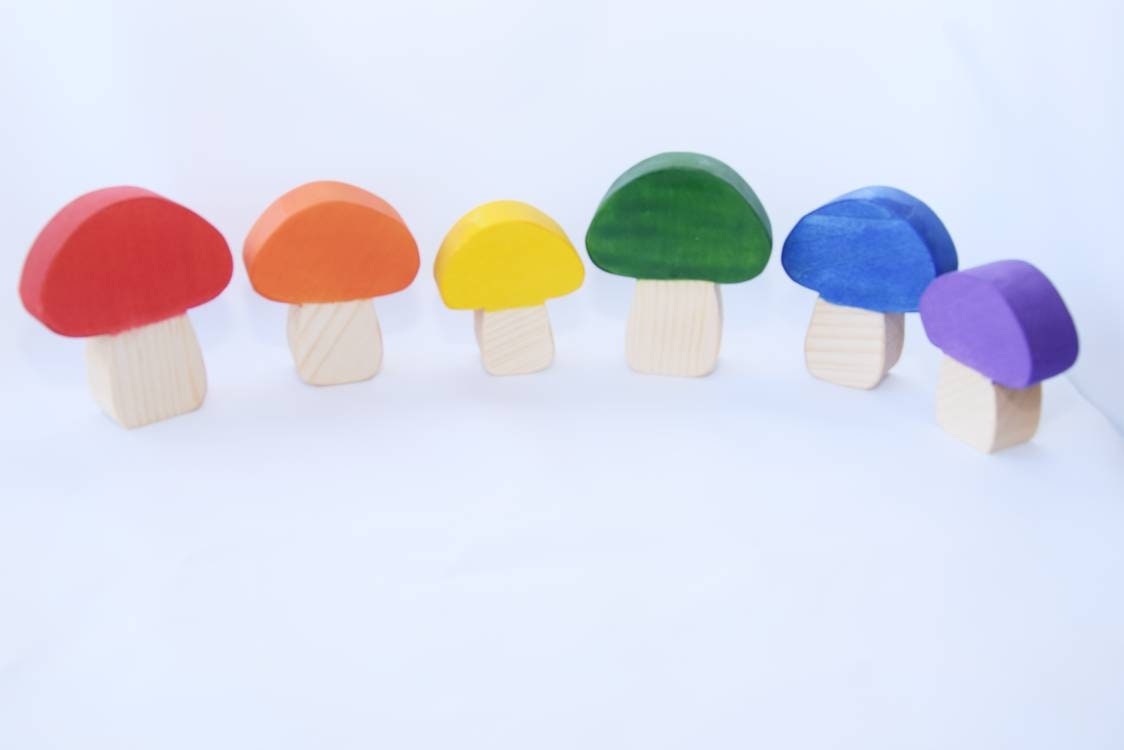 Rainbow mushrooms, open ended wooden toy, loose parts, waldorf toy, rainbow toy set, rainbow decoration, mushrooms, gift for kids,