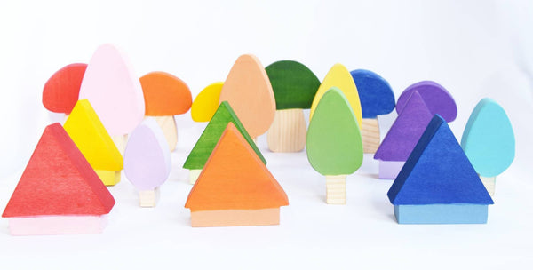 Wooden mushrooms, trees and houses wooden waldorf toy set