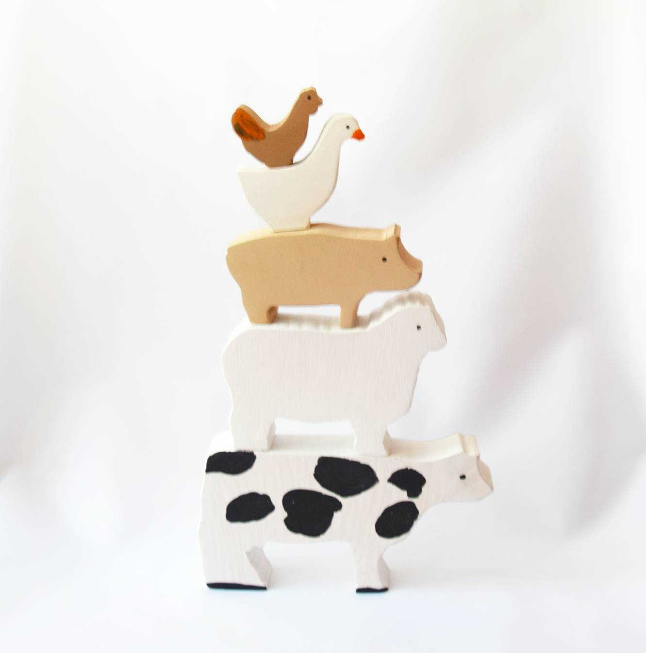 Wooden stacker animals toy, painted stacking animals, balance toy, balancing animals, farm animals toy, waldorf wooden toy, wooden toy set