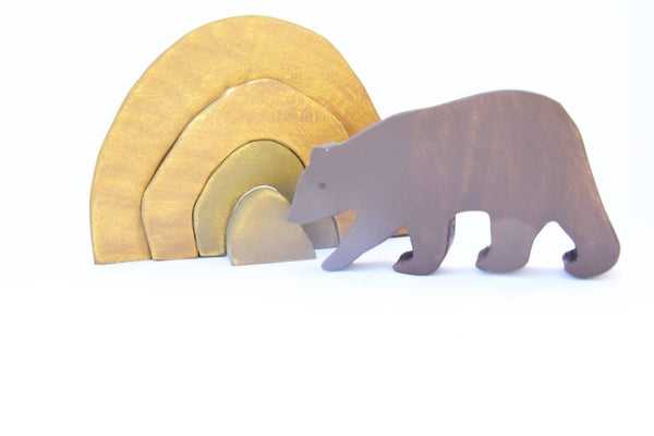 Bear cave wooden stacker toy