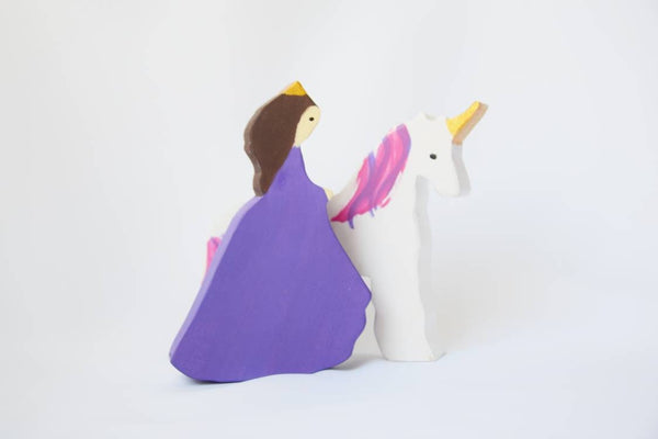 Princess and unicorn wooden waldorf toy set
