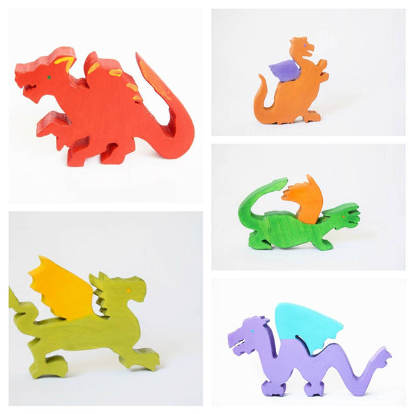 wooden dragons, dragon toy set, waldorf dragons, wooden waldorf toy, dragons, open ended play, wooden figures, gift for kids, wooden animals
