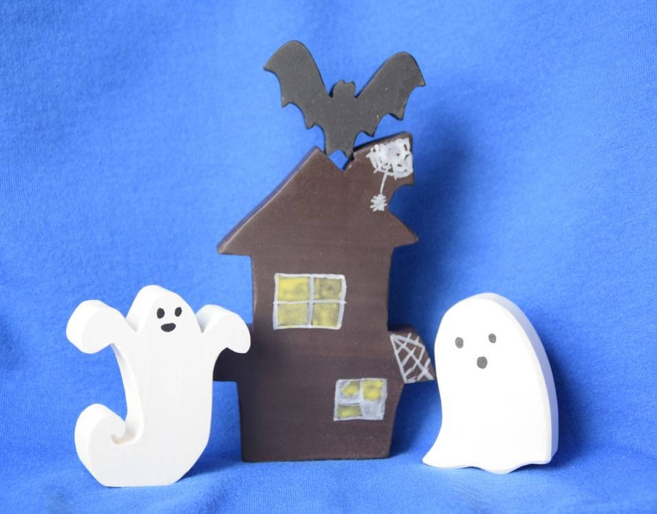 Haunted house, wooden witch house, wooden ghost toy, spooky house wooden toy set, halloween toy, waldorf inspired, halloween decor, toy set