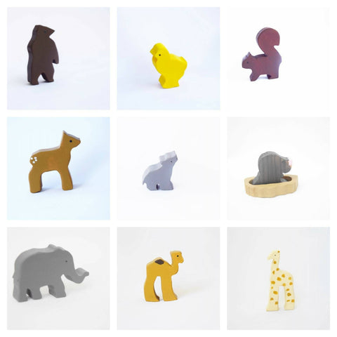 Wooden baby animals toy set