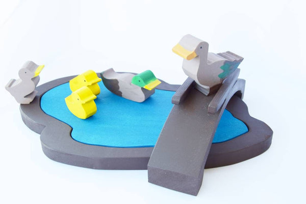 Lake with ducks and bridge wooden waldorf play set