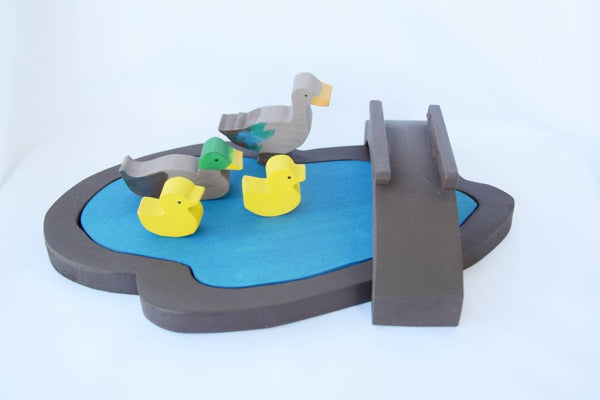 Wooden pond with ducks, wooden lake, waldorf ducks, wooden play scene, birthday gift, christmas present, gift for kids, waldorf wooden toy