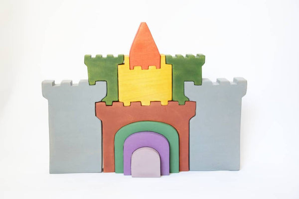 wooden castle, stacking wooden castle, stacking toy, wooden stacker, waldorf inspired, gift for kids,  christmas present, waldorf wooden toy