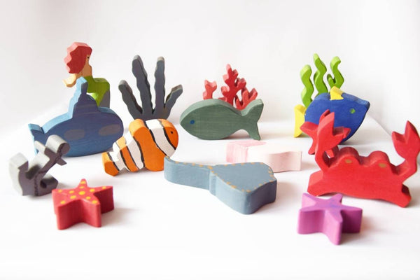 Wooden sea world toy set, sea world creatures, fishes, wooden animals set, imaginative play, open ended waldorf toy set