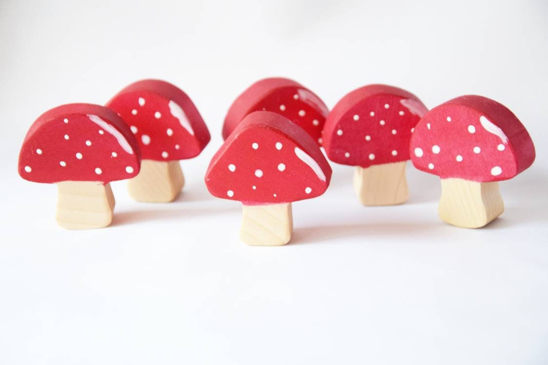 Wooden mushrooms open ended toy set,  waldorf wooden toys, easter gift for kids, nursery decor, easter basket filler, birthday present