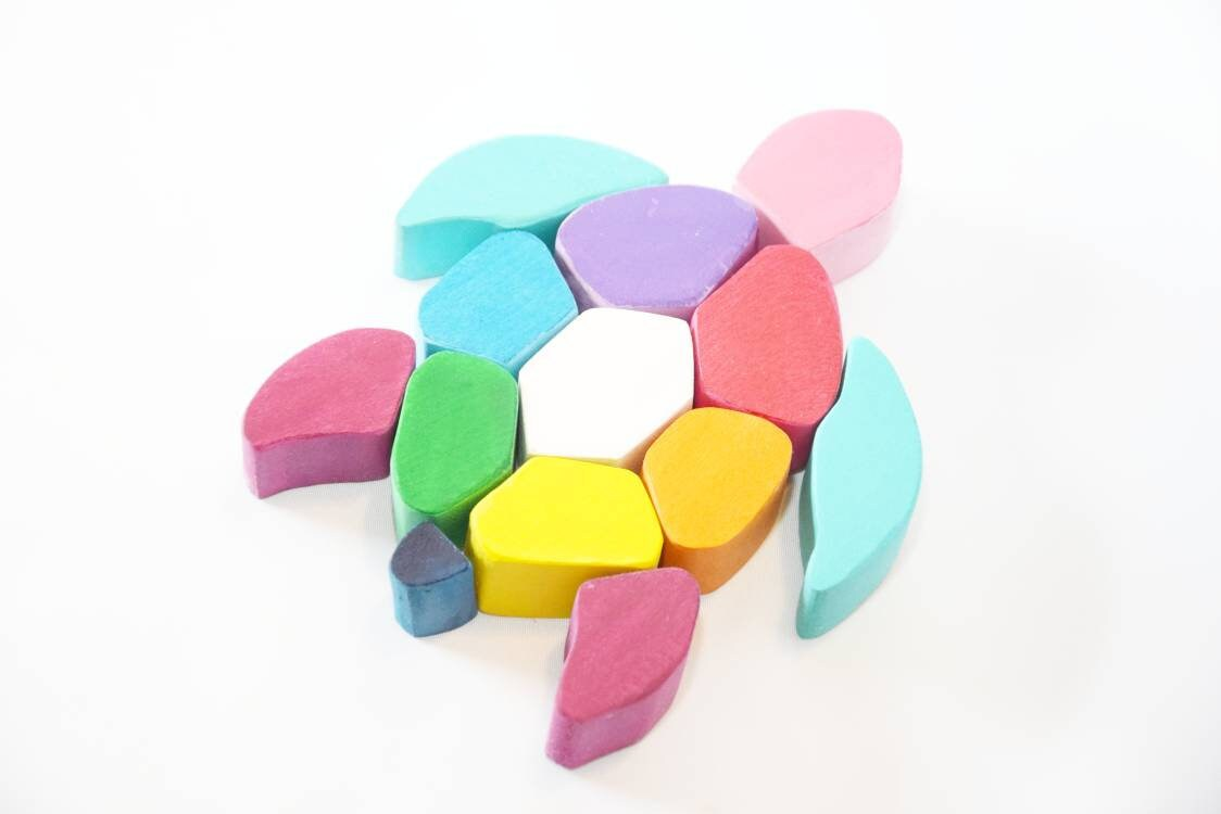 Rainbow turtle, wooden rainbow toy, puzzle, waldorf inspired, gift for kids,  christmas present, montessori waldorf wooden toy