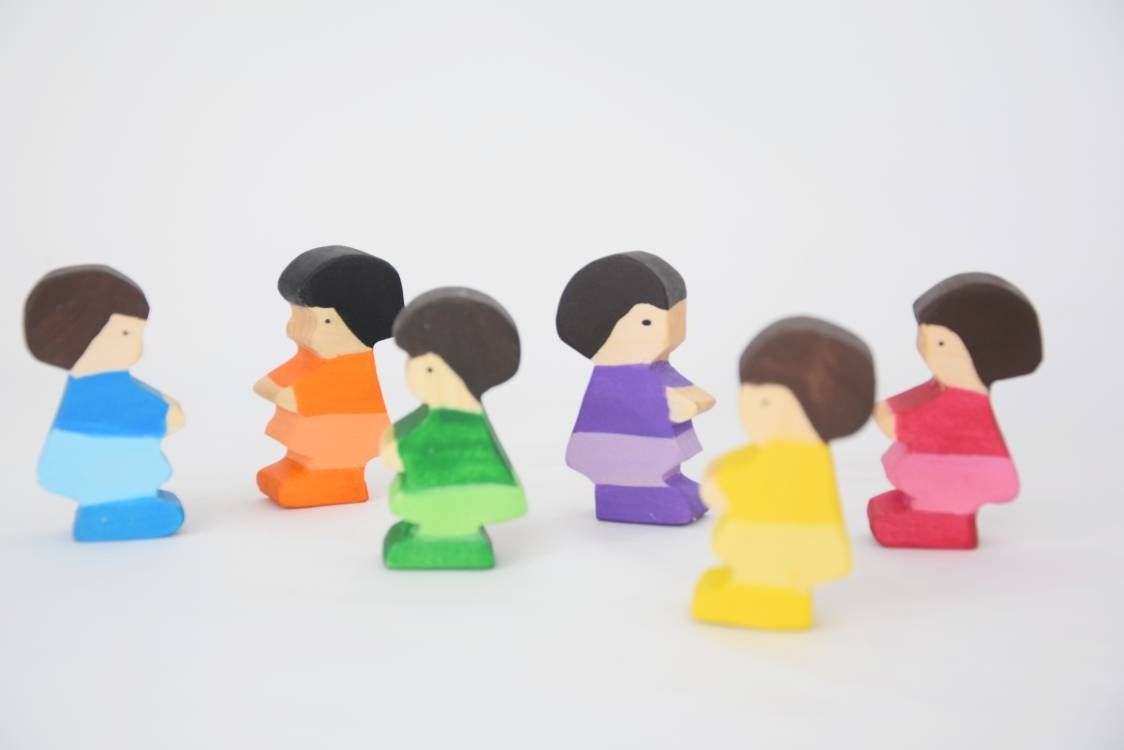 Rainbow girls, waldorf inspired people play set, wooden waldorf toy, rainbow open ended toy, pretend play, open ended play set, wooden toys