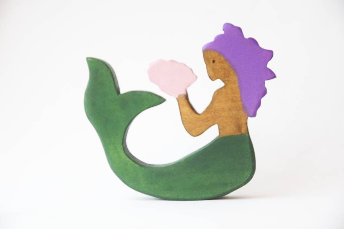 Mermaid wooden toy, mermaid, wooden mermaid, mythology toy, waldorf inspired, inclusive wooden toys, birthday gift for kids, mermaids