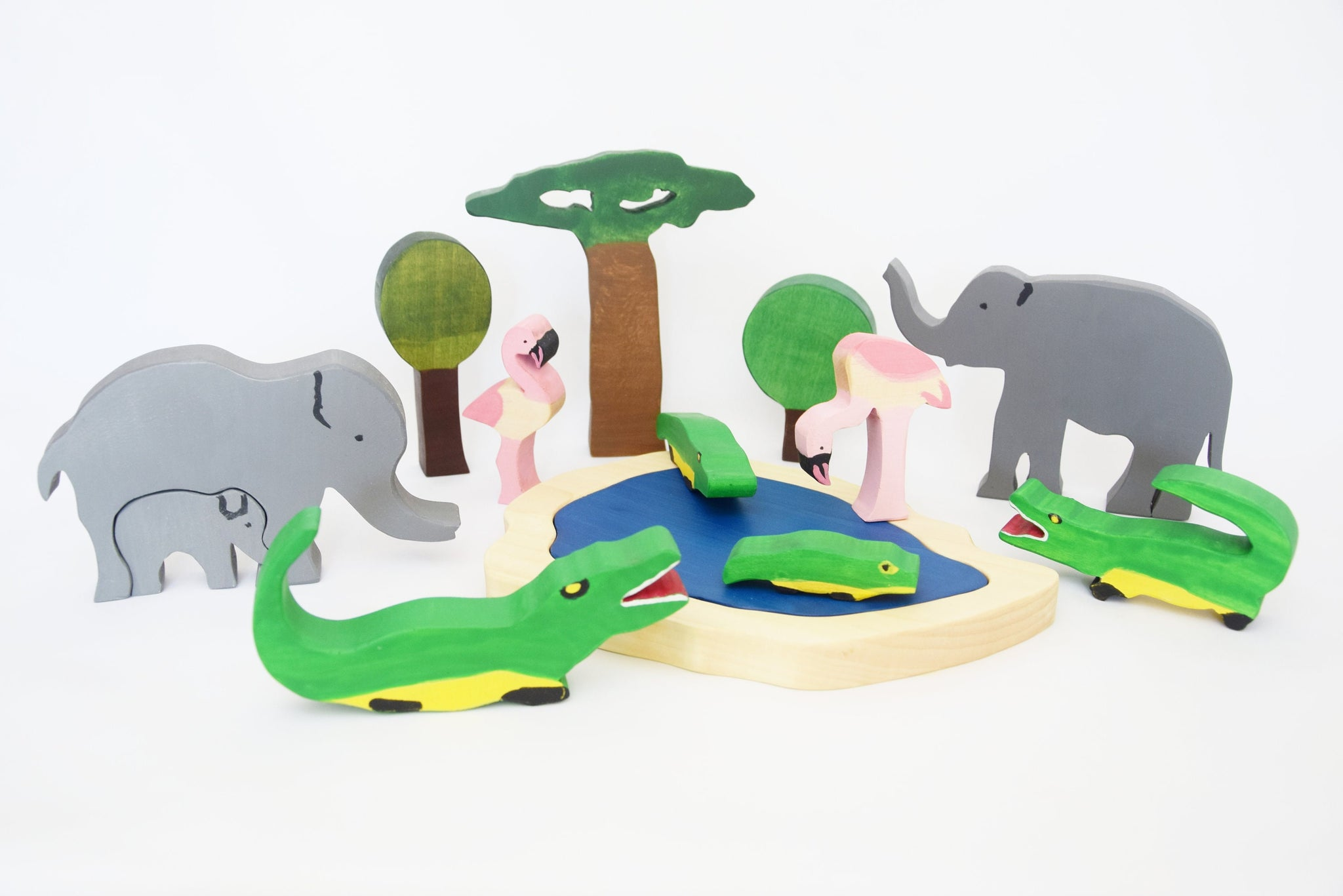 Exotic african animals wooden toy set, waldorf wooden toy set, imaginative play, invitation to play, christmas gift, waldorf wooden toy set