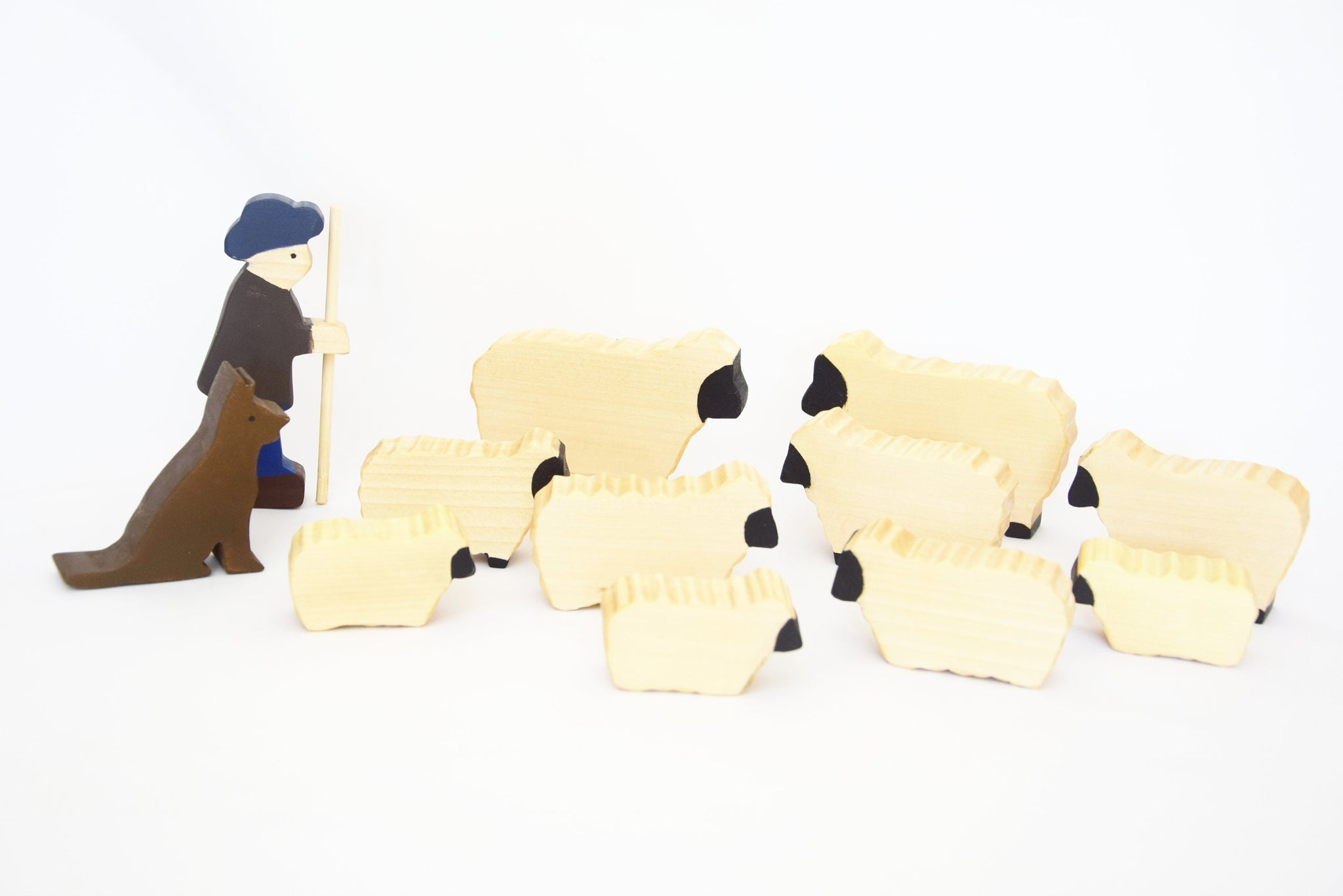 Shepherd with sheep, wooden play set, open ended play, sheep wooden animals, pretend play, waldorf inspired, wooden animals toy set
