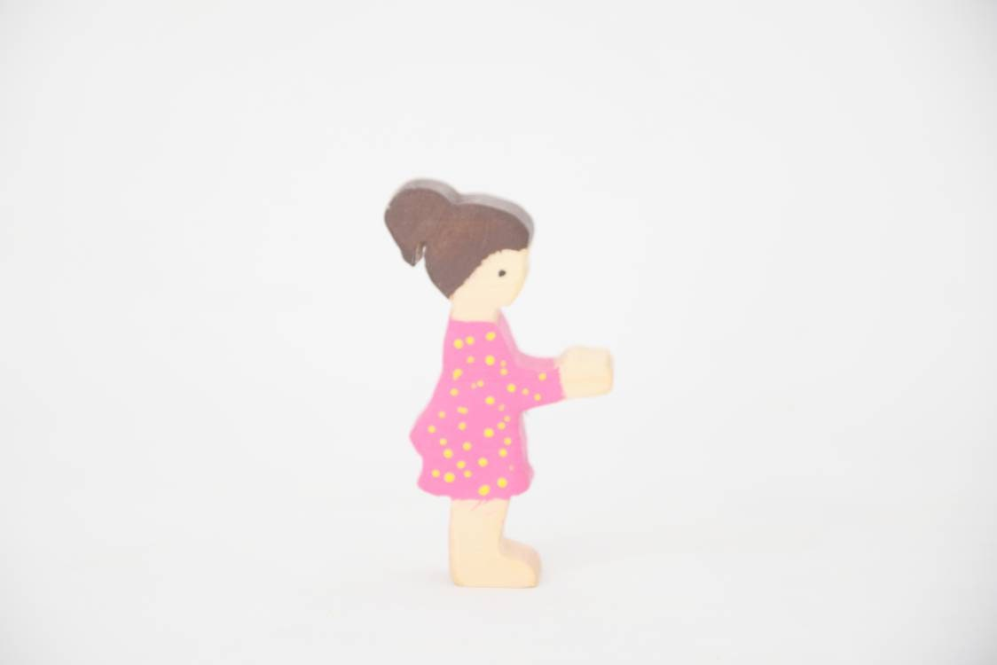Girl wooden toy, waldorf people, pretend play, open ended toy set, small world wooden toy, waldorf inspired toy set, wooden people figurine