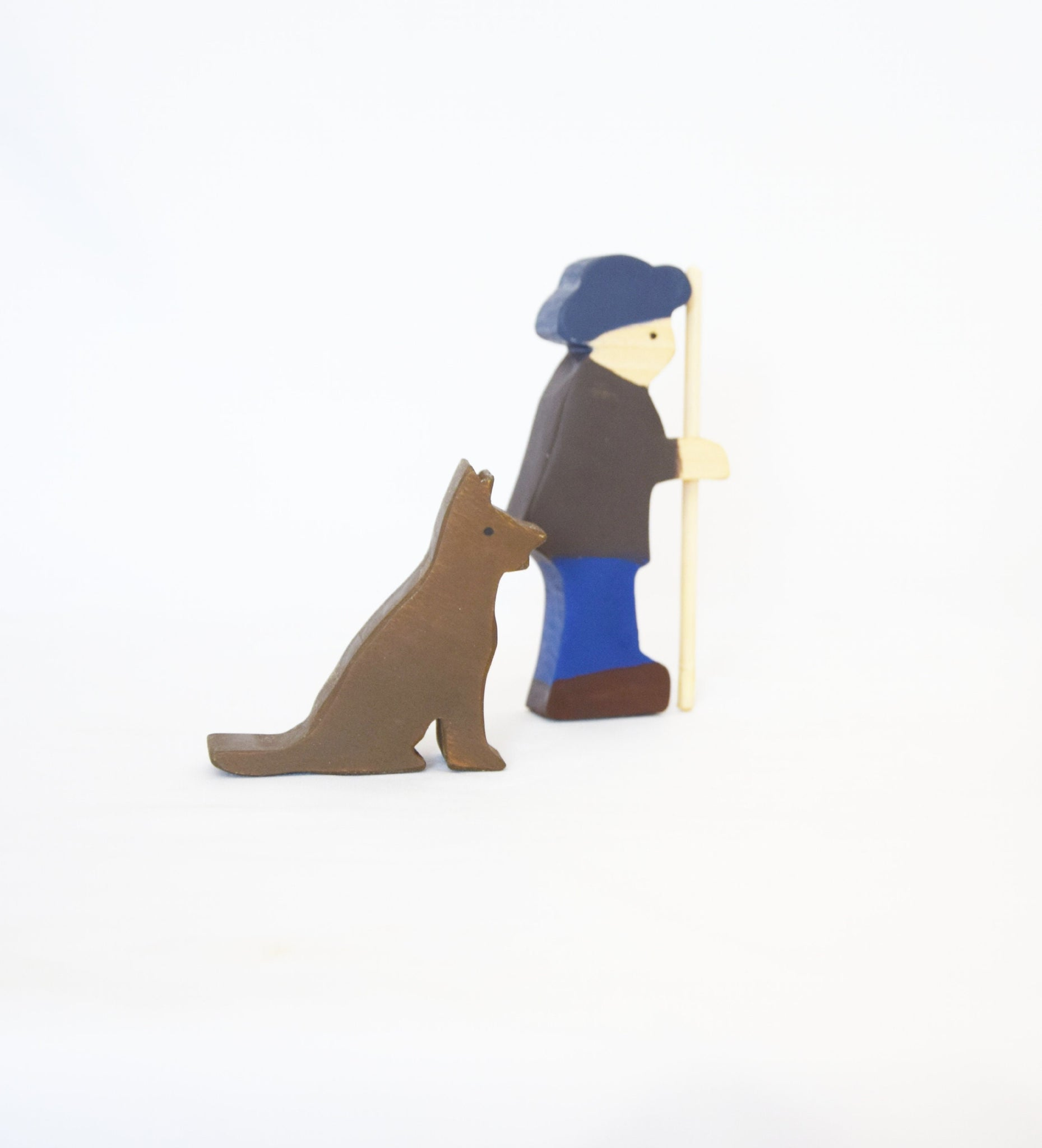 Shepherd with dog, shepherd wooden toy, wooden people figurine, waldorf inspired, open ended play, small world play set, wooden toys