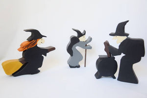 Halloween witches, three wooden witches, waldorf toy set, wooden witch