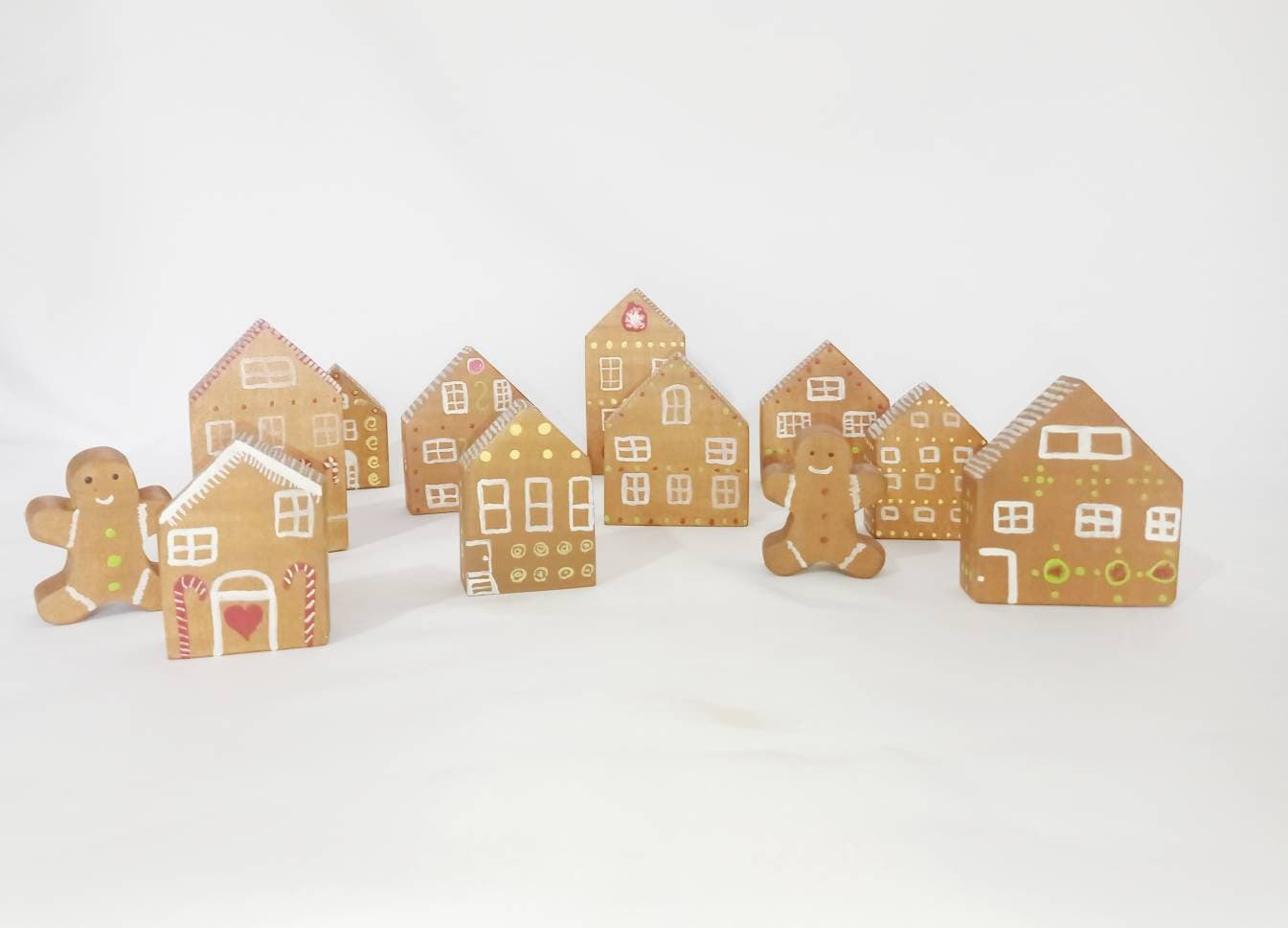 Gingerbread man village, christmas decor, gingerbread man, wooden waldorf toy, open ended toy set, wooden decoration, christmas gift
