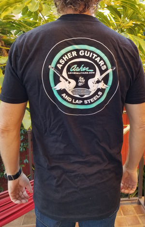 NEW! Asher Guitars Men's 100% Cotton Premium T Shirt - Black or White
