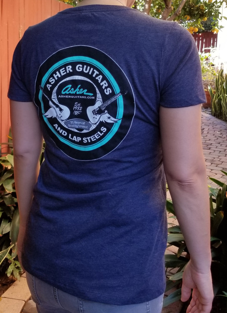 NEW! Asher Guitars Women's 100% Cotton Premium T Shirt - Blue or Grey