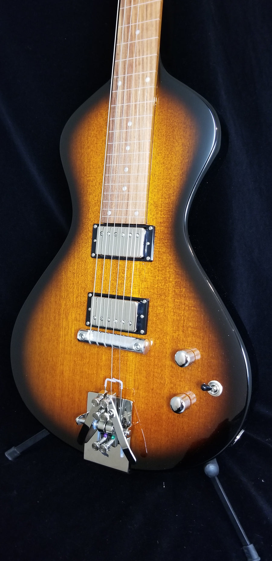 Upgraded NEW Asher Electro Hawaiian® Junior Lap Steel Tobacco Burst - Lollar Imperial Humbuckers, USA Electronics and Hipshot Palm Lever!