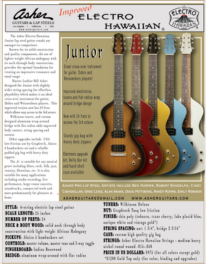NEW Asher Electro Hawaiian® Junior Lap Steel Tobacco Burst - More Improvements All Around!!