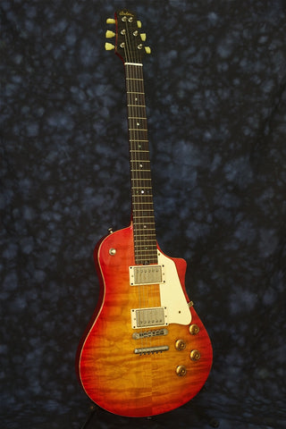 SOLD 2014 Asher Electro Sonic Guitar, Carved Flame Maple Top, Cherry Burst Nitro,  #799