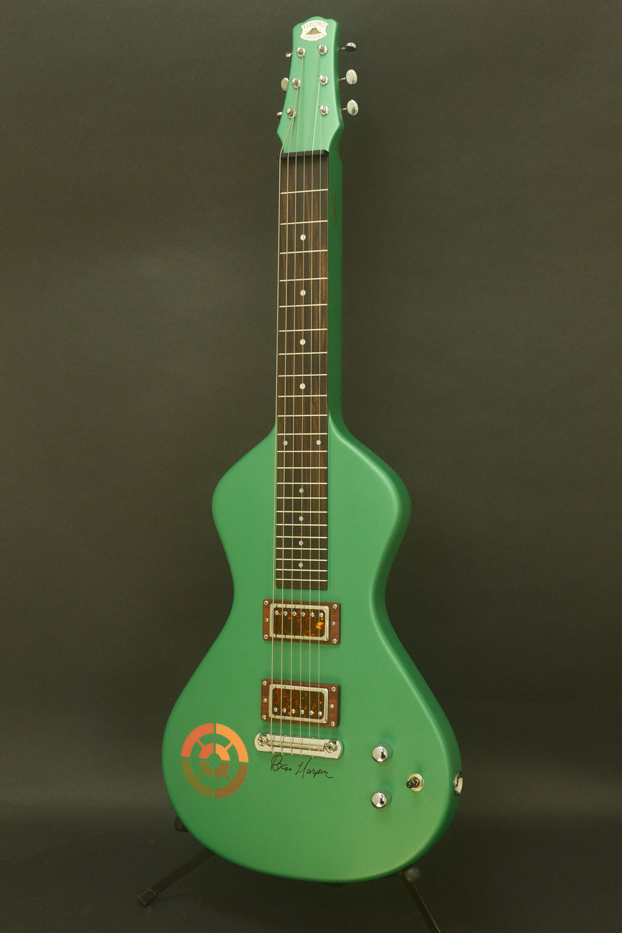 "SOLD ""Signed"" Asher Ben Harper and the Innocent Criminals *Custom* Special Edition Lap Steel, Rasta Green"