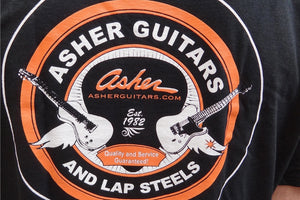 SIZE MEDIUM ONLY SALE: Asher Guitars Mens 100% Premium Cotton T-Shirt - Black