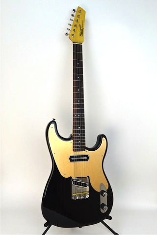 "SOLD  Asher ""Mozo"" #809 Trans Black Nitro Guitar with Gold Anodized Pickguard"