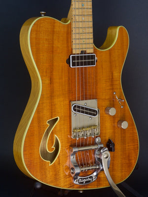 SOLD Used 2012 T Deluxe Bound Flame Koa Top with Custom Fish Hook F Hole and Bigsby,  #710