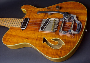 Used 2012 T Deluxe Bound Flame Koa Top with Custom Fish Hook F Hole and Bigsby,  #710