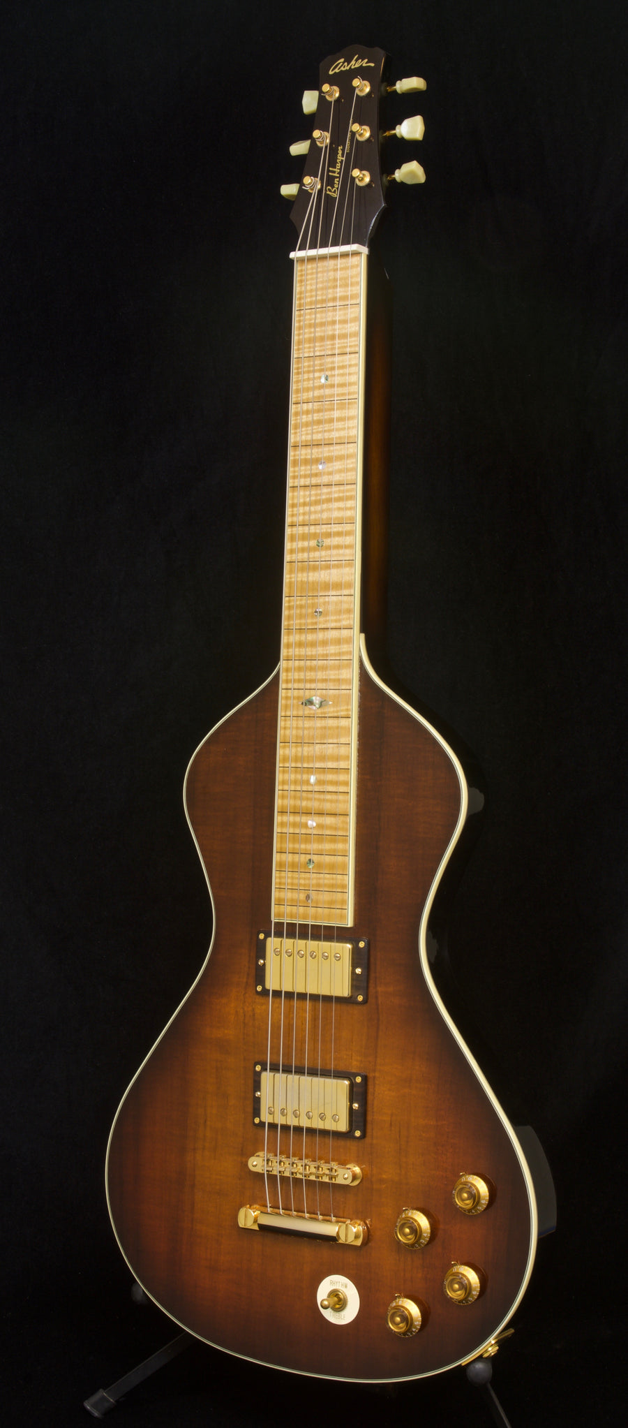 SOLD 2019 Asher Ben Harper Signature Model Lap Steel - Koa Top Tobacco Burst with Gold Hardware