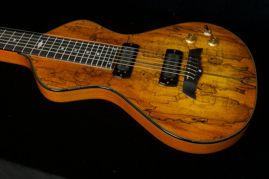 2020 Asher Electro Hawaiian Model I Superior Top - Bound Spalted Maple Top Over Ash
