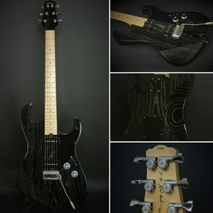 SOLD DEMO Model Asher 2017 S90, #1020 - Black Dog Hair Nitro, 1-piece Swamp Asher Body, Lollar Pickups