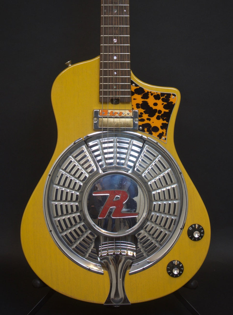 SOLD 2018 Asher Resosonic Rambler with Handcut Original 58 Rambler Hubcap, TV Yellow, #1089