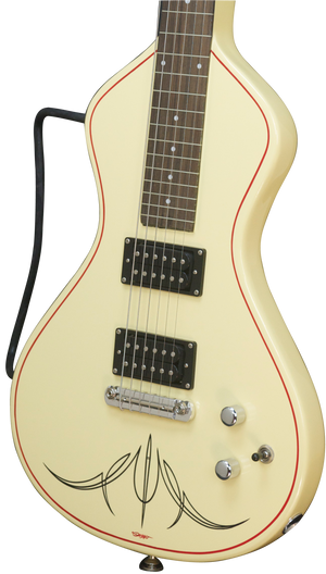 SOLD 2016 Asher Electro Hawaiian Junior with Belly Bar and Pin Striping - Antique White