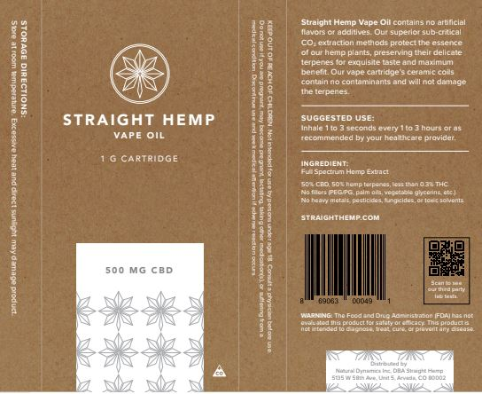 Straight Hemp CBD Oil Ingredients Label