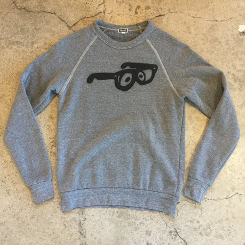 Big Glasses Fleece Crew - Heather Grey