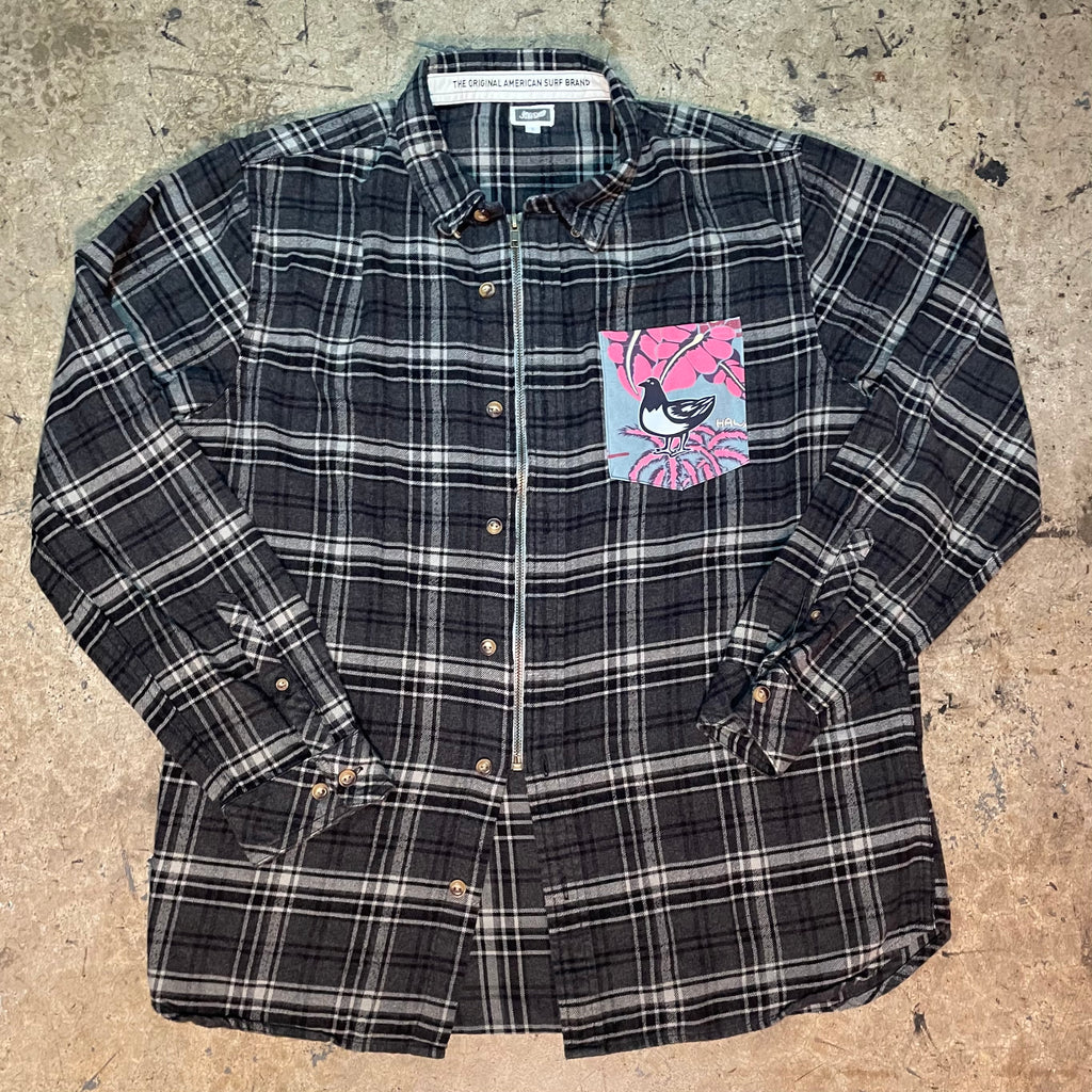 "Yokishop Original - Grey Plaid Front Zip Flannel W/ Mucho Aloha ""Boogie Short"" Pocket"