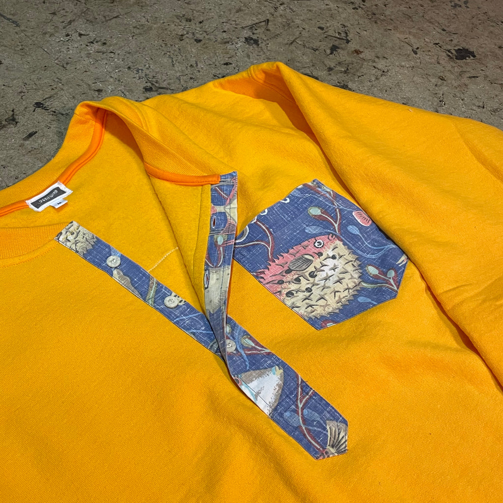 Yokishop Original - Yellow Aloha Henley Sweatshirt
