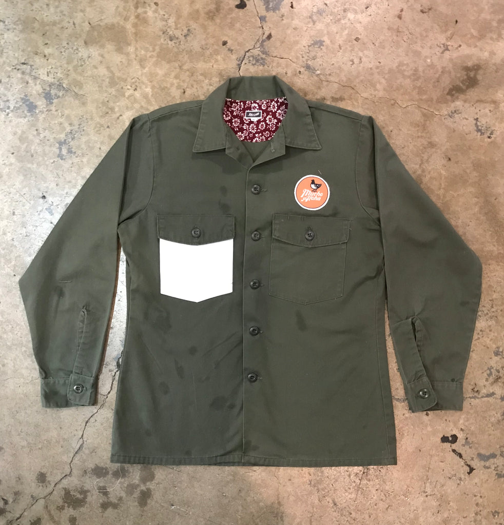 Mucho Aloha - Army Green / White Pocket Long Sleeve Shirt