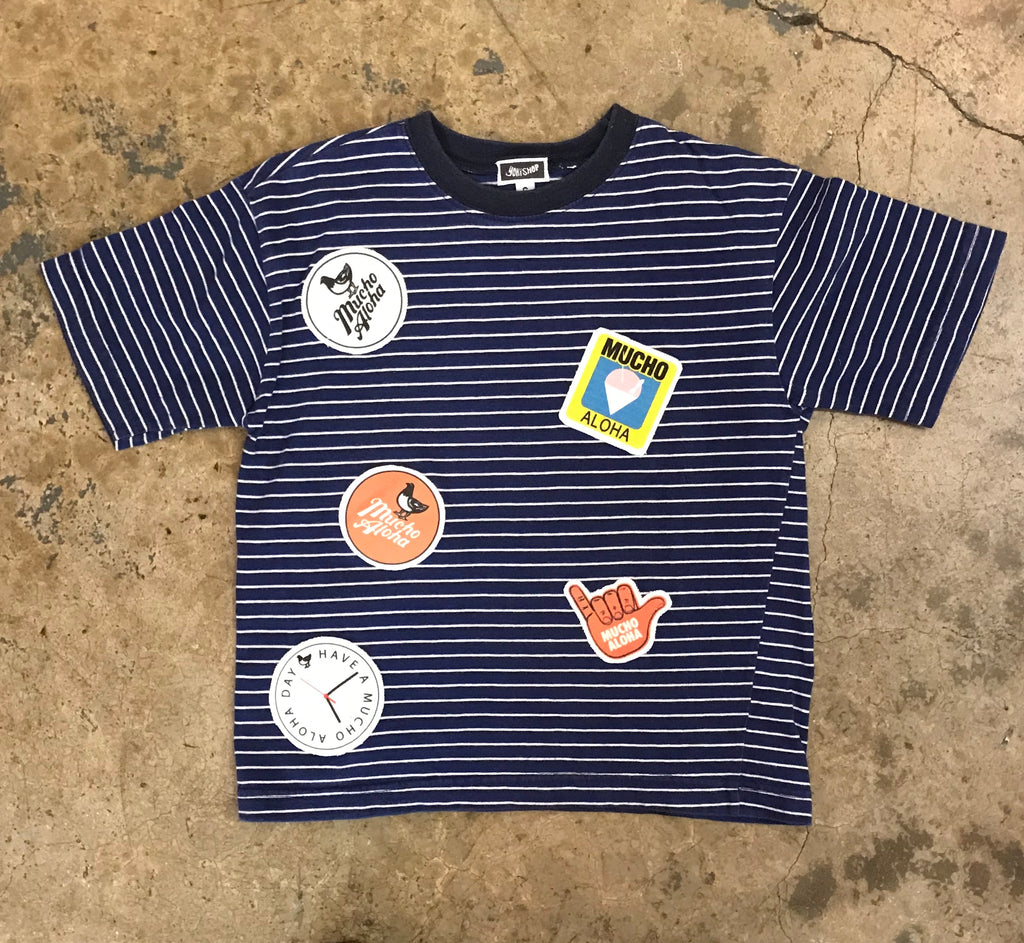 Mucho Aloha - Kid's Striped Patch T-Shirt