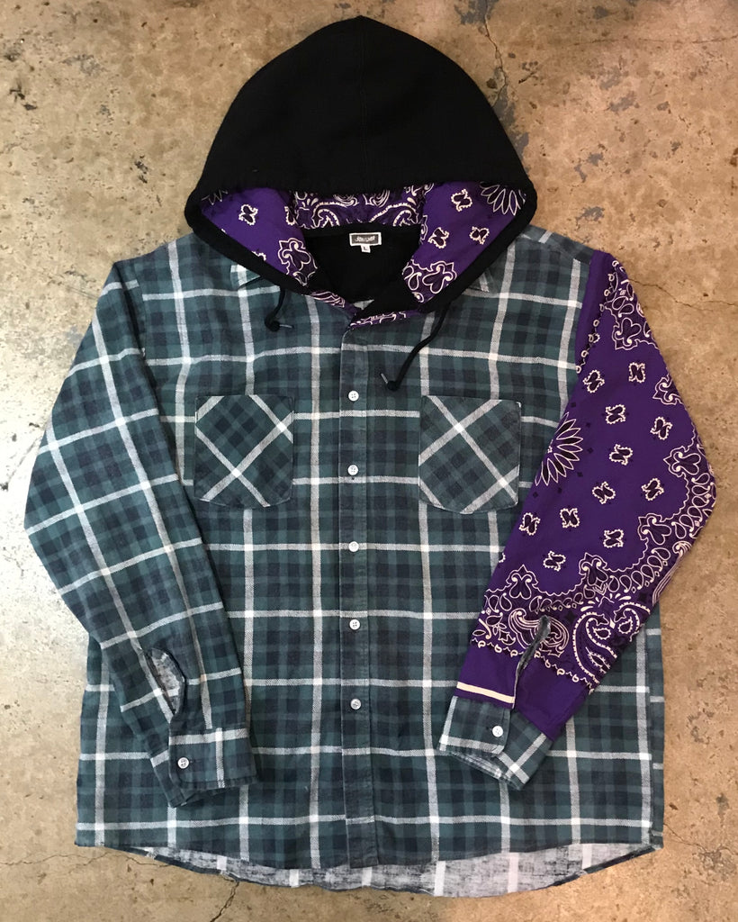 "Yokishop - Vintage ""Purple Bandanna"" Hooded Flannel"